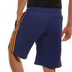 Short adidas Real Madrid 3 Stripes - Pantalón corto de algodón de paseo adidas del Real Madrid - azul marino