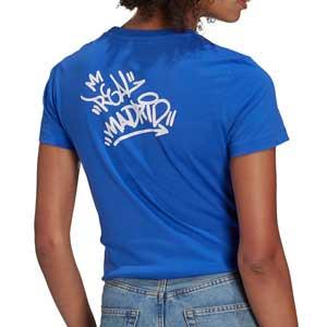 Camiseta adidas Real Madrid mujer Street - Camiseta de manga corta de algodón de mujer adidas del Real Madrid CF - azul