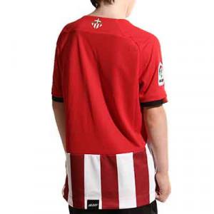 Camiseta New Balance Athletic Club niño 2021 2022 - Camiseta infantil primera equipación New Balance del Athletic Club de Bilbao 2021 2022 - roja y blanca - completa trasera