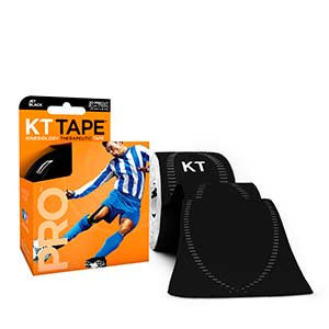 Cinta kinesiológica KT Tape Pro precortada - Tira muscular kinesiológica KT Tape (5 cm x 5 m) - negra - trasera