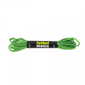 Cordones infantiles planos y finos futbolmania - Cordones para botas de fútbol infantiles (90 cm de largo x 5 mm de ancho) - verdes - conjunto