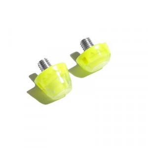 2x tacos goma TPU botas fútbol estándar Studiamonds amarillo - 2 uds. tacos recambiables de plástico TPU de 1x6mm posición delantera y 1x9mm posición trasera para botas de fútbol con métrica estándar (Nike, Puma, New Balance,...) - amarillo flúor