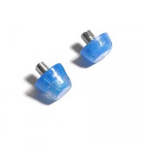 2x tacos goma TPU botas fútbol estándar Studiamonds azul - 2 uds. tacos recambiables de plástico TPU de 1x6mm posición delantera y 1x9mm posición trasera para botas de fútbol con métrica estándar (Nike, Puma, New Balance,...) - azul traslúcido