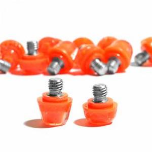 14x tacos goma TPU botas fútbol adidas Studiamonds naranja - 14 uds. tacos recambiables de plástico TPU de 8x6mm + 1x6mm repuesto posición delantera y 4x9mm + 1x9mm repuesto posición trasera para botas de fútbol adidas (excepto World Cup y Kaiser) - naranja flúor