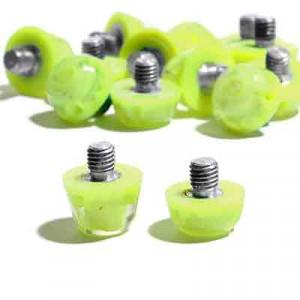 Tacos goma Studiamonds TPU 6/9 mm - 14 uds (9x6 mm y 5x9 mm) de tacos de goma de repuesto para botas Nike, Puma, New Balance,... - amarillo flúor - conjunto