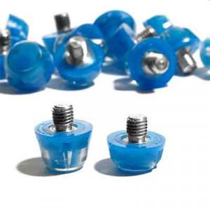 Tacos goma Studiamonds TPU 6/9 mm - 14 uds (9x6 mm y 5x9 mm) de tacos de goma de repuesto para botas Nike, Puma, New Balance,... - azul - detalle conjunto