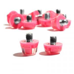 Tacos goma Studiamonds TPU 6/9 mm - 14 uds (9x6 mm y 5x9 mm) de tacos de goma de repuesto para botas Nike, Puma, New Balance,... - rosa flúor - detalle