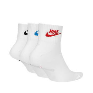 Calcetines tobilleros Nike Everyday Essential 3 pares - Pack de 3 calcetines tobilleros Nike Everyday Essentials - blancos - trasera
