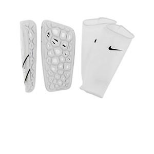 Nike Mercurial Lite - Espinilleras de fútbol Nike con mallas de sujeción - blancas - trasera