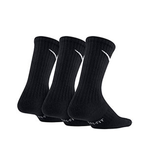 Pack calcetines media caña Nike Cushion Crew niño - Pack de 3 calcetines Nike Cushion Crew media caña - negros - Trasera