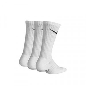 Pack calcetines media caña Nike Cushion Crew niño - Pack de 3 calcetines infantiles Nike Cushion Crew media caña - blancos - trasera