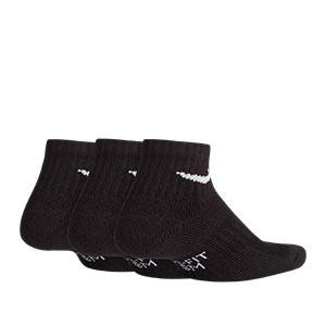Calcetines tobilleros Nike Everyday niño 3 pares acolchados - Pack de 3 calcetines para niño Nike Cushion Crew tobilleros - negros - trasera