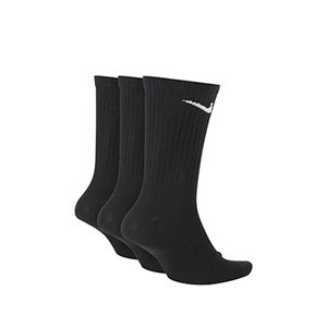 Calcetines Nike Everyday 3 pares finos - Pack de 3 calcetines media caña finos Nike - negros - trasera