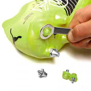 Taco goma Studiamonds TPU 9 mm - 1 ud de taco de goma trasero de repuesto para botas Nike, Puma, New Balance,... de 9 mm - amarillo flúor - detalle llave