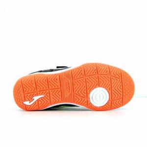 Joma Top Flex Jr Velcro IN - Zapatillas de fútbol sala infantiles con velcro suela lisa IN - negras, naranjas