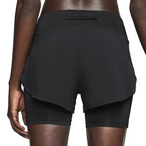 Short con malla Nike Eclipse mujer - Pantalón corto con malla para mujer Nike - negro - trasera