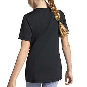 Camiseta Nike Pro niña - Camiseta de manga corta de niña para fútbol Nike - negra - trasera