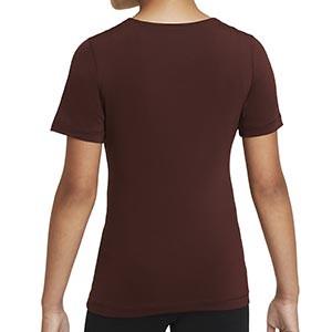Camiseta Nike Pro niña - Camiseta de manga corta de niña para fútbol Nike - granate - trasera