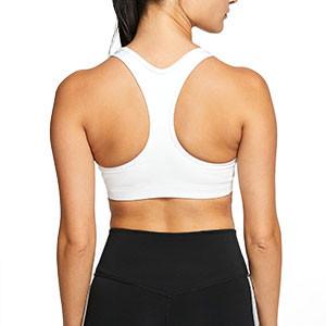 Sujetador deportivo Nike Swoosh - Top deportivo Nike de mujer para fútbol - blanco - trasera