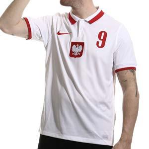 Camiseta Nike Lewandowski Polonia 2020 2021 Stadium - Camiseta primera equipación Robert Lewandowski Nike selección de Polonia 2020 2021 - blanca - trasera