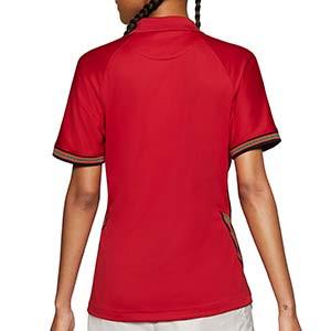 Camiseta Nike Portugal mujer 2020 2021 Stadium - Camiseta de mujer primera equipación Nike selección de Portugal 2020 2021 - roja - trasera