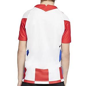 Camiseta Nike Croacia niño 2020 2021 Stadium - Camiseta infantil primera equipación Nike selección Croacia 2020 2021 - blanca y roja - trasera