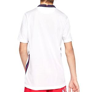 Camiseta Nike Inglaterra niño 2020 2021 Stadium - Camiseta infantil primera equipación Nike de la selección de Inglatera 2020 2021 - blanca - trasera