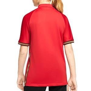 Camiseta Nike Portugal niño 2020 Stadium - Camiseta infantil primera equipación selección de Portugal 2020 2021 - roja - trasera