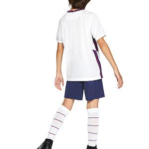 Equipación Nike Inglaterra niño 3 - 8 años 2020 2021 - Kit niño Nike primera equipación selección Inglaterra 2020 2021 - blanco y azul marino - trasera