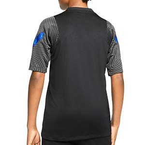 Camiseta Nike Holanda niño entreno 2020 2021 Strike - Camiseta infantil entrenamiento Nike selección holandesa 2020 2021 - negra - trasera