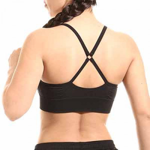 Sujetador deportivo Nike Dri-Fit Indy Seamless - Top deportivo sin costuras Nike de mujer para fútbol - negro - hover trasera