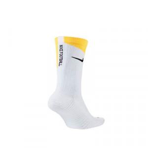 Calcetines Nike Squad Crew Canvas - Calcetines media caña para entrenamiento fútbol Nike - blancos y amarillos - trasera
