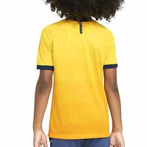 Camiseta Nike 3a Tottenham niño 2020 2021 Stadium - Camiseta infantil tercera equipación Nike Tottenham 2020 2021 - amarilla - trasera