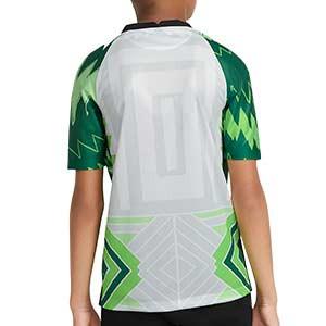 Camiseta Nike Nigeria niño 2020 2021 Stadium - Camiseta infantil primera equipación Nike selección de Nigeria 2020 2021 - blanca y verde - trasera