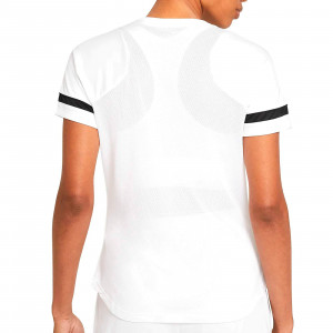 Camiseta Nike Dri-Fit Academy 21 mujer - Camiseta de maga corta de mujer para entrenamiento fútbol Nike - blanca - trasera