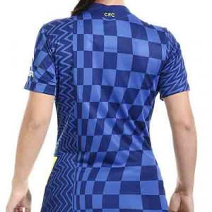 Camiseta Nike Chelsea 2021 2022 mujer Dri-Fit Stadium - Camiseta primera equipación para mujer Nike Chelsea FC 2021 2022 - azul - hover trasera
