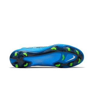 Nike Phantom GT Elite DF FG - Botas de fútbol con tobillera Nike FG para césped natural o artificial de última generación - azules, plateadas, verdes, negras - suela