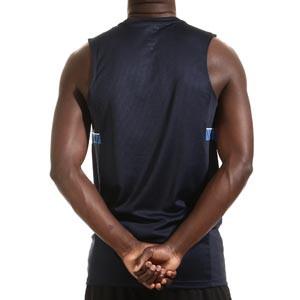 Camiseta tirantes Nike Dri-Fit Academy 21 - Camiseta sin mangas de entrenamiento de fútbol Nike - azul marino - trasera