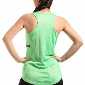 Camiseta tirantes Nike Dri-Fit Academy 21 mujer - Camiseta sin mangas de entrenamiento de fútbol para mujer Nike - verde - hover trasera