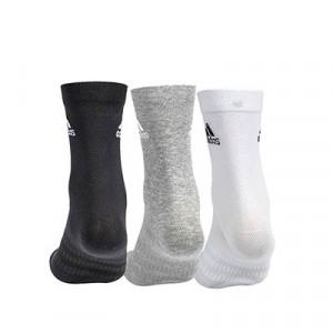 Calcetines adidas 3 pares finos - Pack 3 calcetines de media caña adidas - negro, gris y blanco - trasera