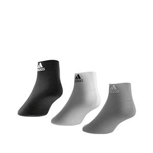 Calcetines adidas 3 pares finos - Pack 3 calcetines tobilleros adidas - blanco, gris y negro - trasera
