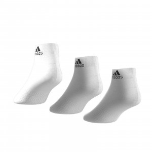 Calcetines adidas 3 pares finos - Pack 3 calcetines tobilleros adidas - blancos - trasera