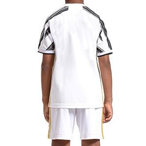 Equipación adidas Juventus niño 1-6 años 2020 2021 - Conjunto infantil primera equipación adidas Juventus 2020 2021 - blanca y negra - trasera