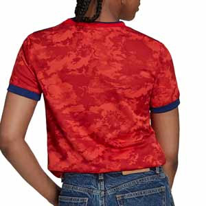 Camiseta adidas 2a mujer Olympique Lyon 2021 2022 - Camiseta segunda equipación de mujer adidas del Olypique de Lyon 2021 2022 - roja - trasera
