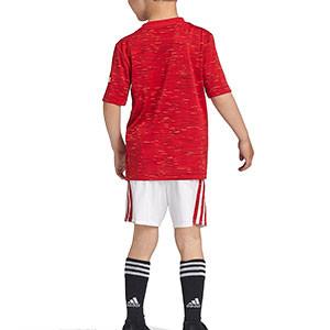 Equipación adidas United niño 2020 2021 - Conjunto infantil 7-14 años primera equipación adidas Manchester United 2020 2021 - roja y blanca - trasera