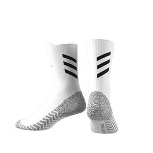 Calcetines adidas Alphaskin Traxion ultra finos - Calcetines de entrenamiento adidas media caña con tecnología antideslizante - blancos - trasera