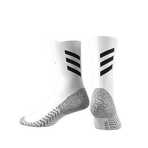 Calcetines adidas Alphaskin Traxion semi acolchados - Calcetines de entrenamiento adidas media caña con tecnología antideslizante - blancos - trasera