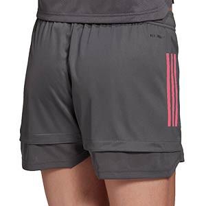 Short adidas Real Madrid mujer entreno 2020 2021 - Pantalón corto de entrenamiento adidas del Real Madrid 2020 2021 - gris - trasera