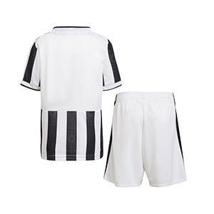 Equipación adidas Juventus niño 1-6 años 2021 2022 - Conjunto infantil primera equipación adidas Juventus 2021 2022 - blanca y negra - trasera