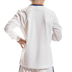 Camiseta manga larga adidas Real Madrid niño 2021 2022 - Camiseta manga larga primera equipación infantil adidas Real Madrid CF 2021 2022 - blanca - trasera
